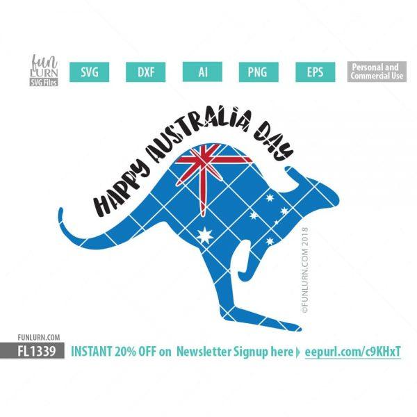 Kangaroo Happy Australia Day SVG