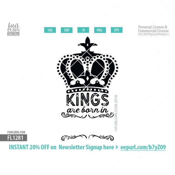 Kings are born in Blank svg