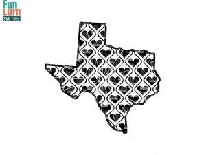 Texas Map Hearts Svg