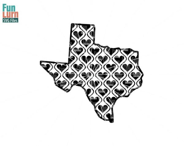 Texas Map Hearts Svg