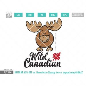 Wild Canadian Cute Moose SVG