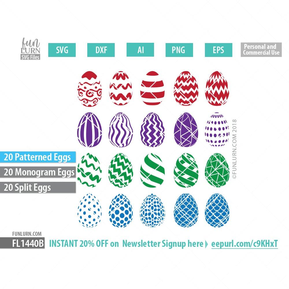 Easter Patterned eggs and Monogram Frames SVG - FunLurn SVG