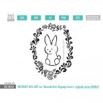 cute bunny wreath SVG