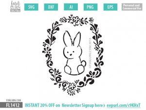 cute bunny wreath SVG