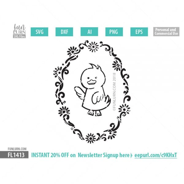 Cute Duck wreath SVG