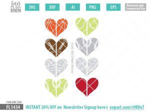 Sport Half hearts SVG