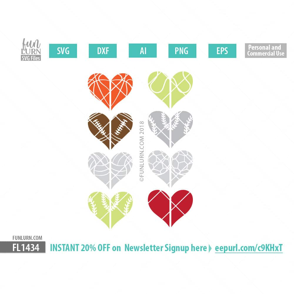 A Change Of Heart Collection Sport Half Hearts Single Layer Svg Funlurn