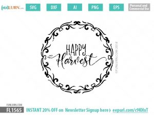 Happy Harvest Round Sign SVG