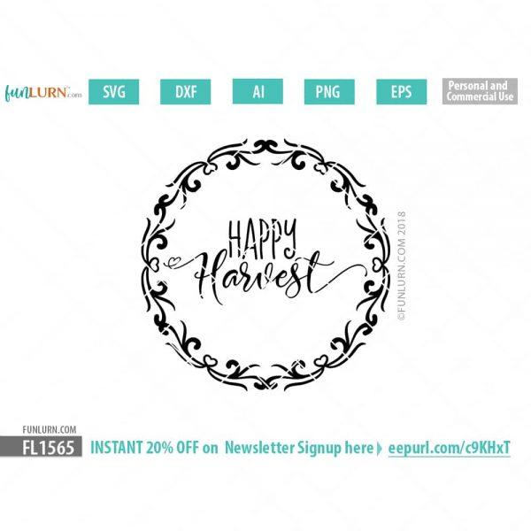 Happy Harvest Round Sign SVG