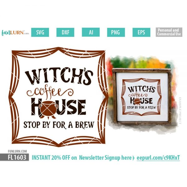 Witch's coffee house, stop by for a brew SVG