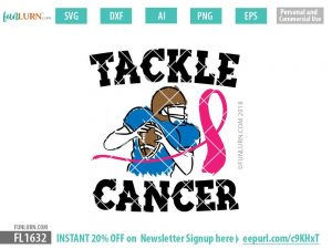 Tackle Cancer Football Player SVG