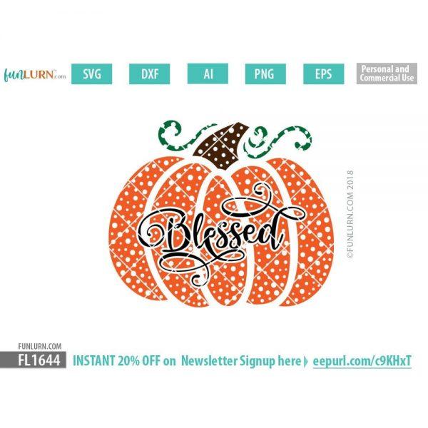 Blessed pumpkin dot patterned SVG