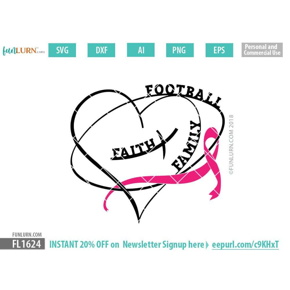Faith Family Football Breast Cancer Awareness Ribbon Svg Funlurn