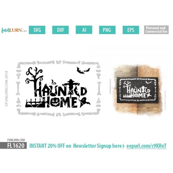 Haunted Home sign SVG