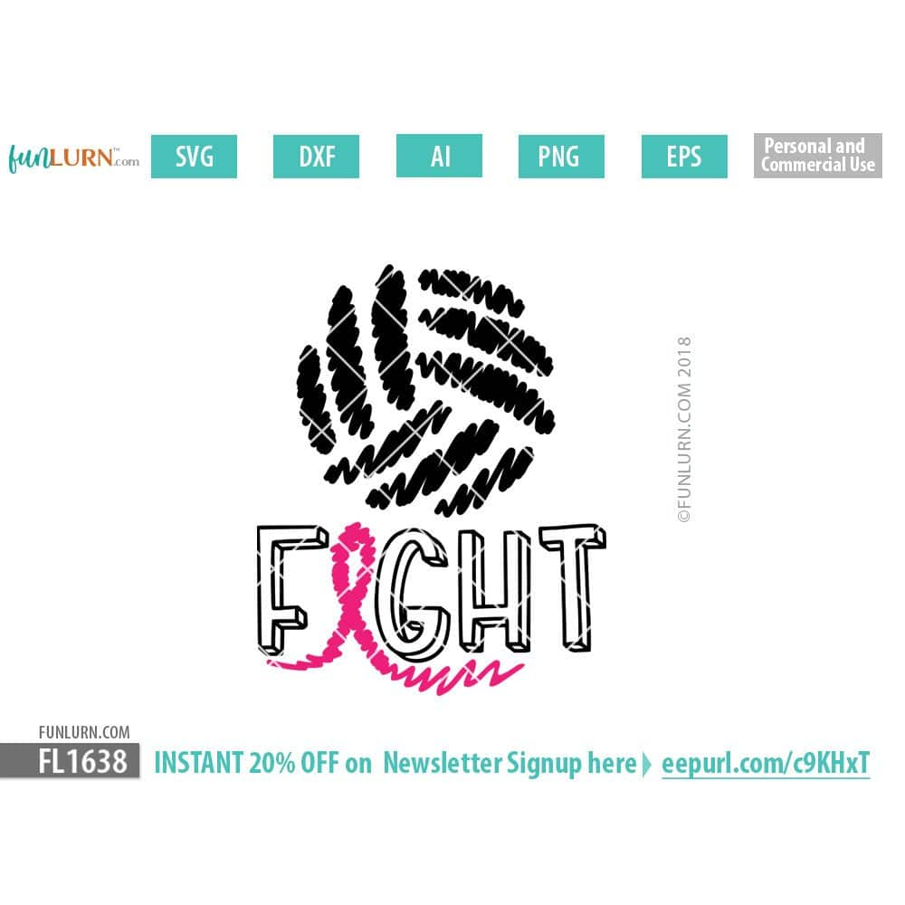 Volleyball Cancer Awareness Scribble Ribbon Svg Funlurn
