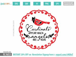 Cardinals appear when angels are near SVG cut file