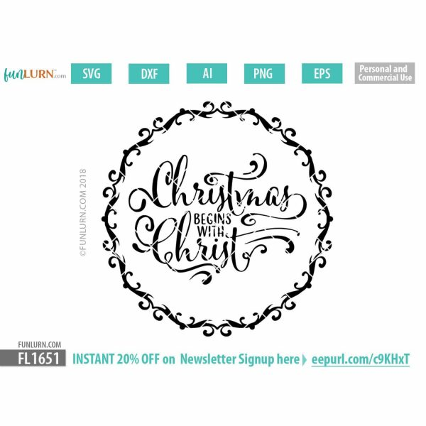 Christmas begins with Christ SVG cut file