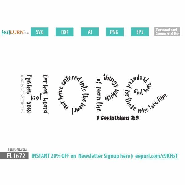 Hope Bible Verse Word Art SVG