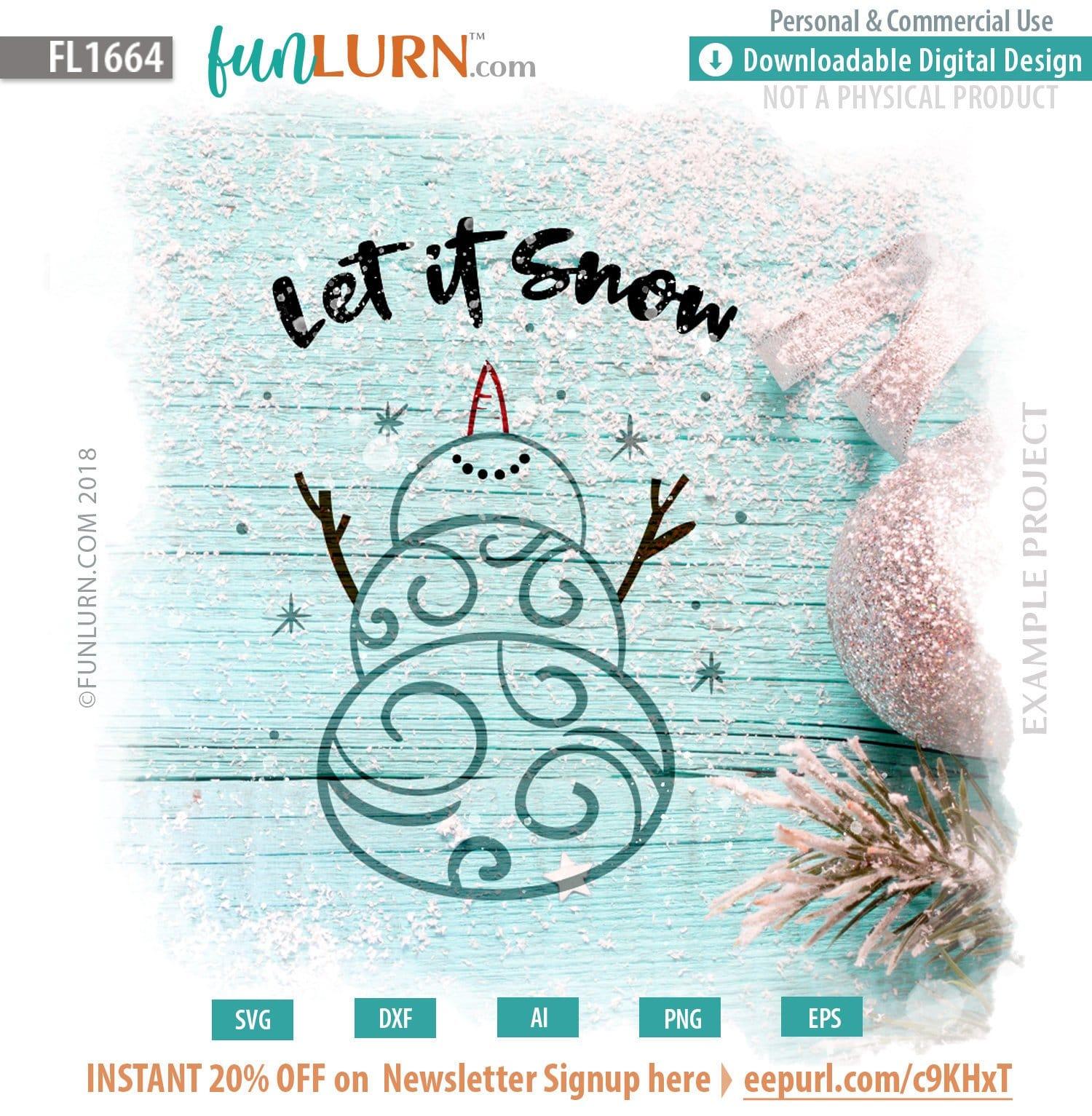 Let It Snow Svg Swirly Snowman Funlurn