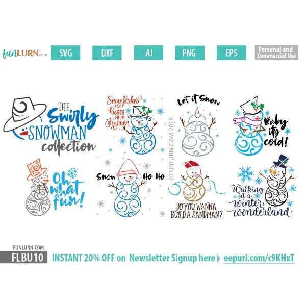 Swirly Snowman Bundle SVG