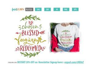 Chosen blessed forgiven redeemed SVG