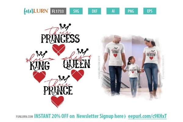 Her King SVG, His Queen SVG, Their Prince SVG, Their Princess SVG