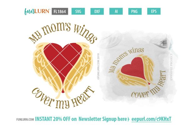 My mom's wings cover my heart