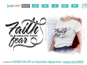 Faith is greater than fear SVG - Grey Ribbon svg