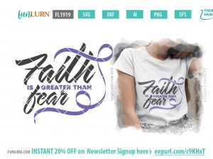 Lilac Awareness Ribbon svg - Faith is greater than fear