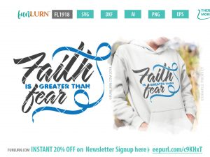 Blue Cancer Awareness Ribbon - Faith is greater than fear svg