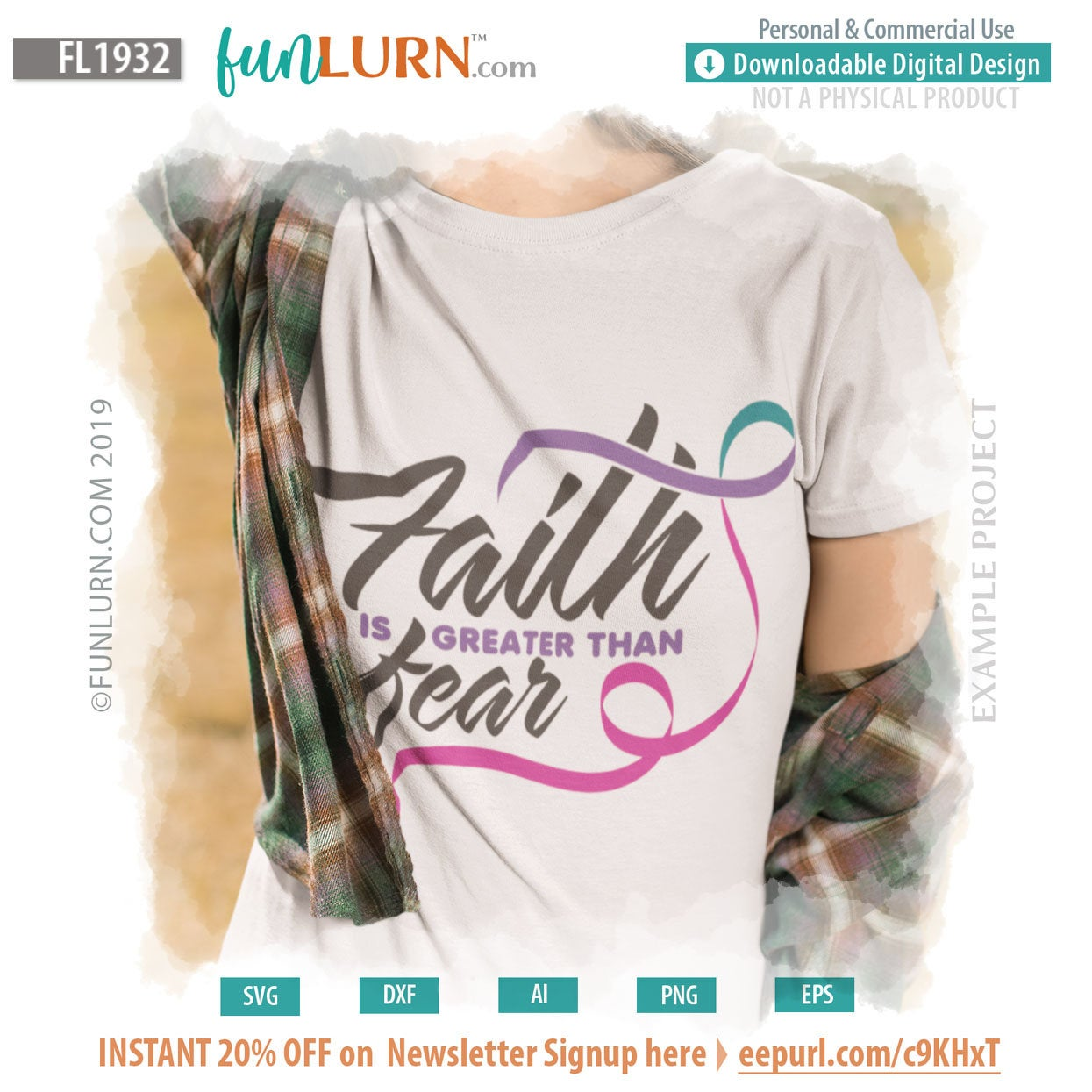 Thyroid Cancer Ribbon Faith Is Greater Than Fear Svg Funlurn