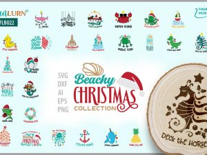 Beachy Christmas Collection, Best Christmas Bundle, SVG Files, Coastal, Beachy, Tropical, Cruise, Ugly, mermaid Christmas, Christmas Puns