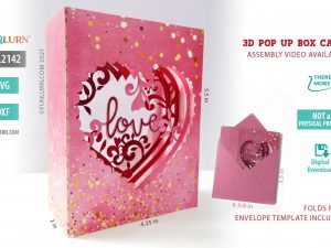 3D Pop Up Heart shaped Box Card Valentine's Day SVG