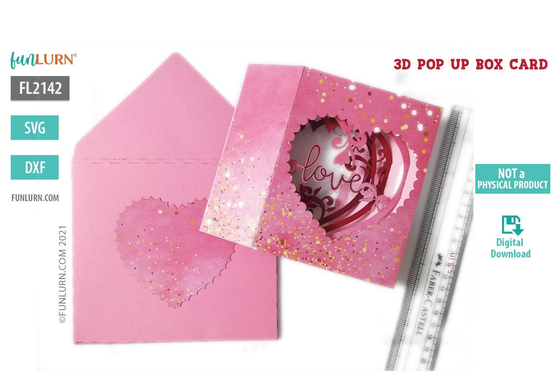 3d pop up heart shaped box card valentine's day svg  funlurn
